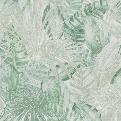 Papier peint intissé 368202 Greenery - Papier peint palmier Vert Blanc - 10,05 x 0,53 m