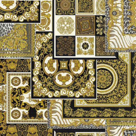 Papier peint intissé 370483 Versace 4 - Papier peint carreaux de ciment & carrelage Noir/Anthracite Argent Blanc - 10,05 x 0,70 m