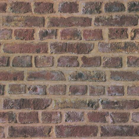 Papier peint intissé 371611 Trendwall - Papier peint brique & pierre Beige/Crème Marron Rouge - 10,05 x 0,53 m