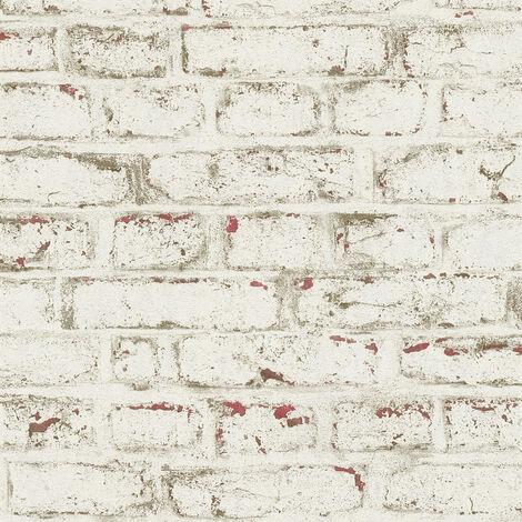 Papier peint intissé 371621 Trendwall - Papier peint brique & pierre Beige/Crème Rouge Blanc - 10,05 x 0,53 m
