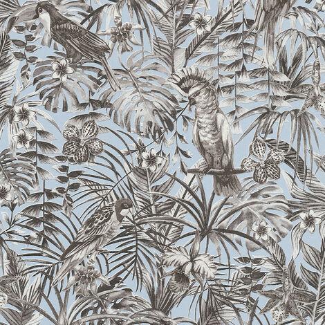 Papier peint intissé 372103 Greenery - Papier peint jungle & tropical Bleu Gris Noir/Anthracite Blanc - 10,05 x 0,53 m