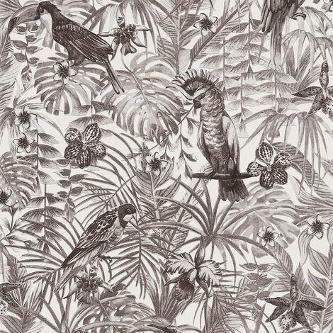 Papier peint intissé 372105 Greenery - Papier peint jungle & tropical Noir/Anthracite Blanc - 10,05 x 0,53 m