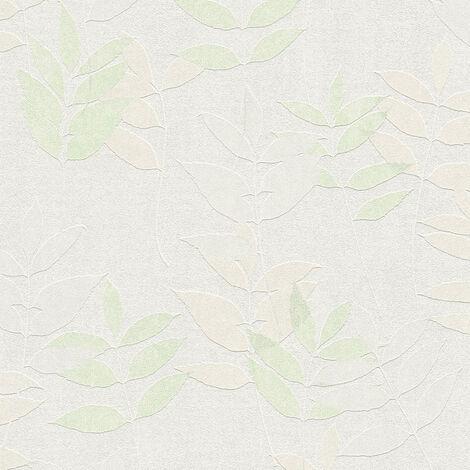 Papier peint intissé 372612 Blooming - Papier peint palmier Gris Vert Blanc - 10,05 x 0,53 m