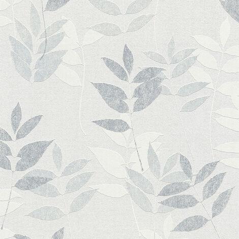 Papier peint intissé 372614 Blooming - Papier peint palmier Gris Blanc - 10,05 x 0,53 m