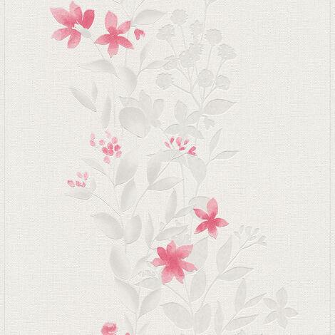 Papier peint intissé 372664 Blooming - Papier peint fleuri Beige/Crème Gris Rouge - 10,05 x 0,53 m