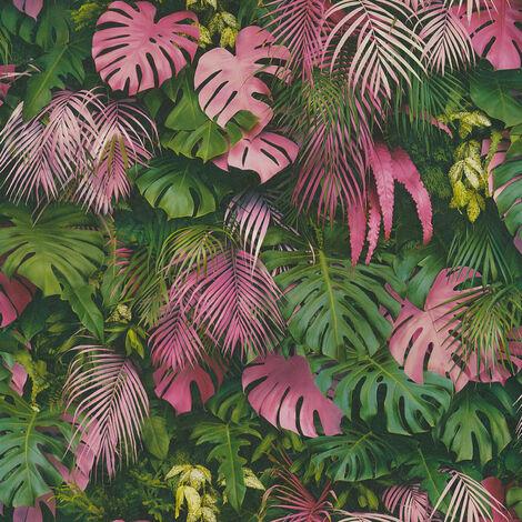 Papier peint intissé 372801 Greenery - Papier peint palmier Vert Rose - 10,05 x 0,53 m