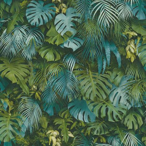 Papier peint intissé 372803 Greenery - Papier peint palmier Bleu Vert - 10,05 x 0,53 m