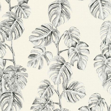 Papier peint intissé 372812 Greenery - Papier peint palmier Noir/Anthracite Blanc - 10,05 x 0,53 m