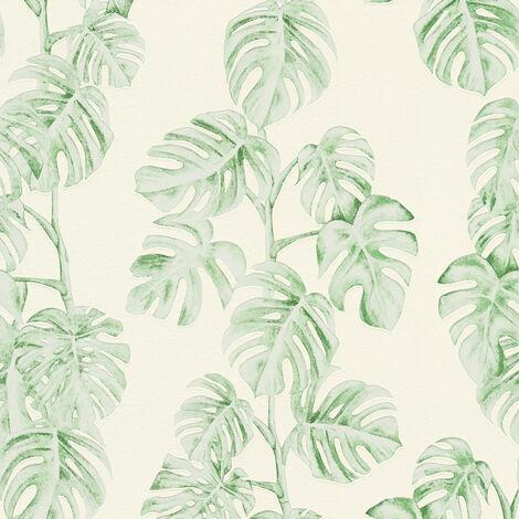 Papier peint intissé 372813 Greenery - Papier peint palmier Vert Blanc - 10,05 x 0,53 m