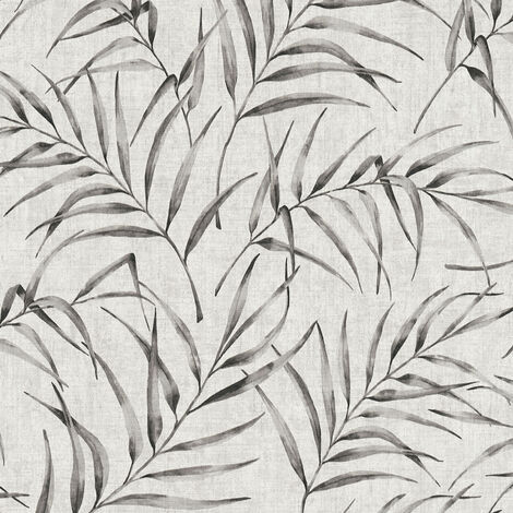 Papier peint intissé 373352 Greenery - Papier peint palmier Noir/Anthracite Blanc - 10,05 x 0,53 m