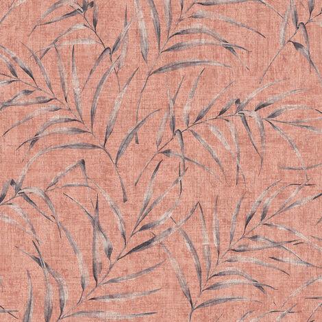 Papier peint intissé 373354 Greenery - Papier peint palmier Orange/Terre cuite Rose - 10,05 x 0,53 m