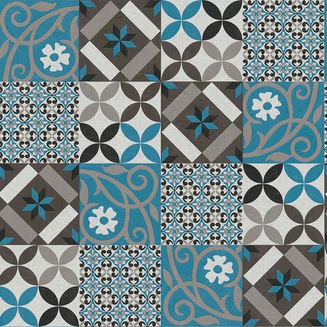 Papier peint intissé 376842 New Life - Papier peint carreaux de ciment & carrelage Bleu Noir/Anthracite - 10,05 x 0,53 m