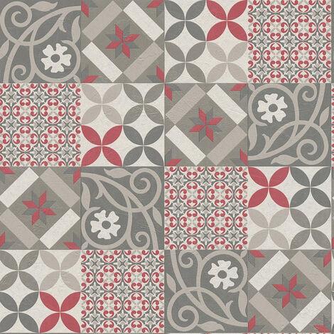 Papier peint intissé 376843 New Life - Papier peint carreaux de ciment & carrelage Rouge Noir/Anthracite - 10,05 x 0,53 m