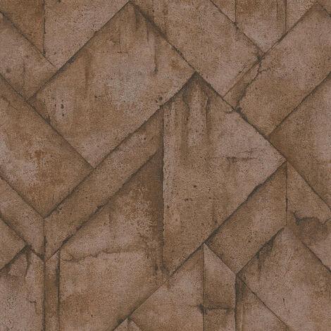 Papier peint intissé 377411 Industrial - Papier peint brique & pierre Marron Noir/Anthracite - 10,05 x 0,53 m