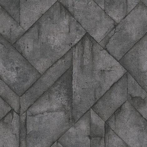 Papier peint intissé 377412 Industrial - Papier peint brique & pierre Gris Noir/Anthracite - 10,05 x 0,53 m