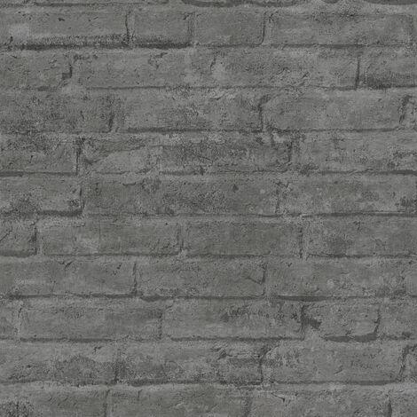Papier peint intissé 377475 Industrial - Papier peint brique & pierre Gris Noir/Anthracite - 10,05 x 0,53 m