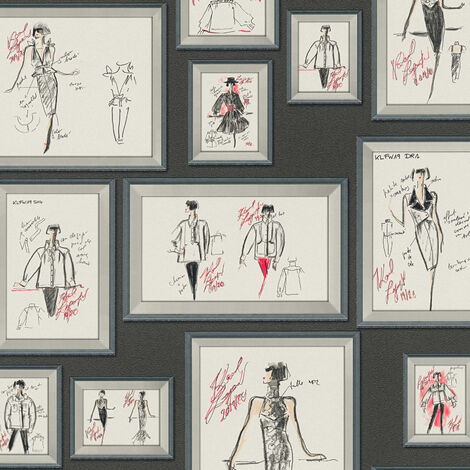 Papier peint intissé 378461 Karl Lagerfeld - Papier peint original Gris Rouge Noir Blanc - 10,05 x 0,53 m