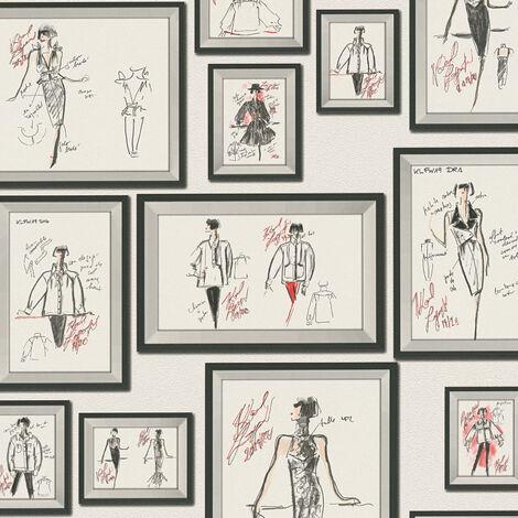 Papier peint intissé 378463 Karl Lagerfeld - Papier peint original Gris Rouge Noir Blanc - 10,05 x 0,53 m