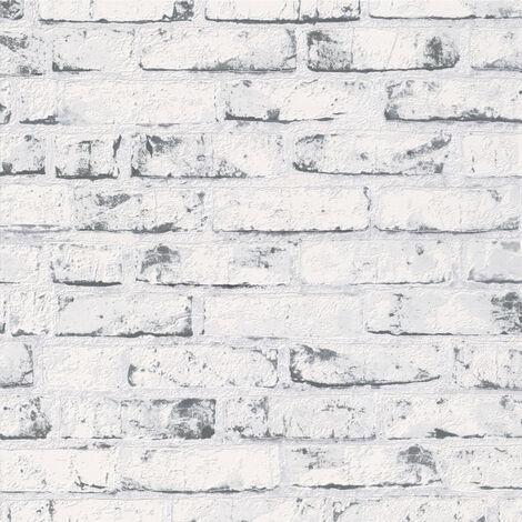 Papier peint intissé 907837 New England 2 - Papier peint brique & pierre Noir Blanc - 10,05 x 0,53 m