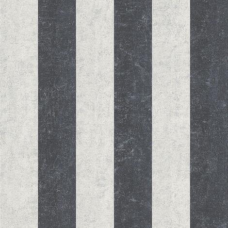Papier peint intissé 960787 Bohemian Burlesque - Papier peint motif Argent Noir/Anthracite Blanc - 10,05 x 0,53 m