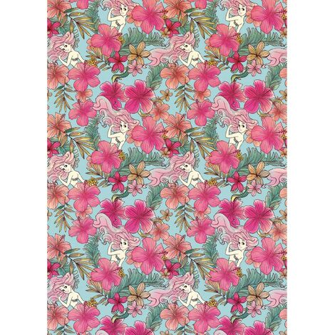 Papier peint intissé Ariel la petite Sirène Motif floral Pastel Disney 200 X 280 CM