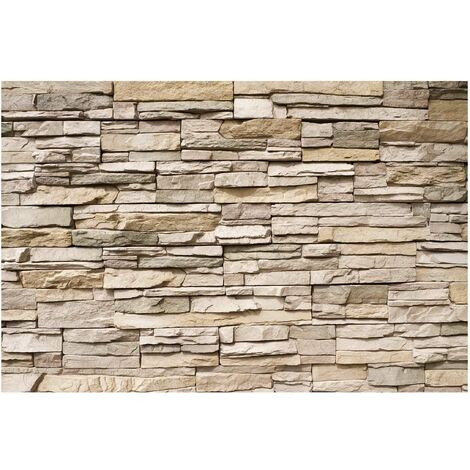 Papier peint intissé - Asian Stonewall - Stone wall with big bright stones - Mural Large