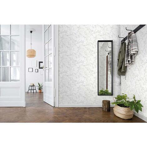 Papier Peint Intissé Blanc, Gris Bois/Pierre - Motif, Moderne - Pour Chambre à Coucher, Salon ou Cuisine - Fabriqué en Allemagne - 10,05 x 0,53m - 31737