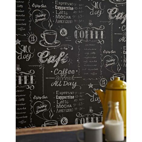 """main image of """"Papier Peint Intissé Cuisine, Café en terrasse 1005 x 52cm Noir, Blanc"""""""