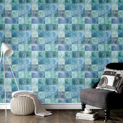 Papier Peint Intissé Dalles Vert Bleu 10 M X 52 Cm