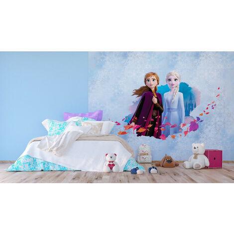 Papier Peint Intissé - Disney La Reine des Neiges 2 - modèle Anna et Elsa sur fond bleu 360 cm x 270 cm