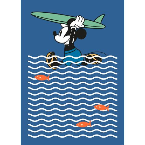 Papier Peint intissé Disney Mickey Mouse fait du surf 200 cm x 280 cm