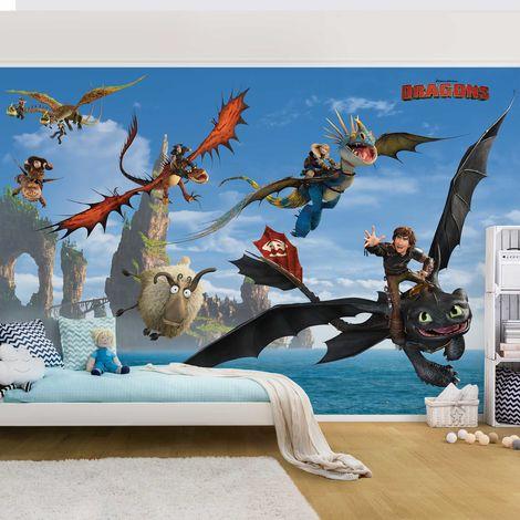 Papier peint intissé - Dragons - Chasing the sheep - Mural Format Paysage