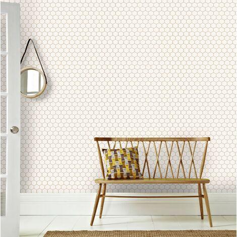 Papier peint intissé Hexagone Geo 1005 x 52cm Blanc, Cuivre, Or