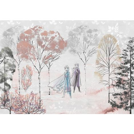 Papier Peint Intissé La Reine des Neiges 2 Disney Anna et Elsa dessin 400 cm x 280 cm