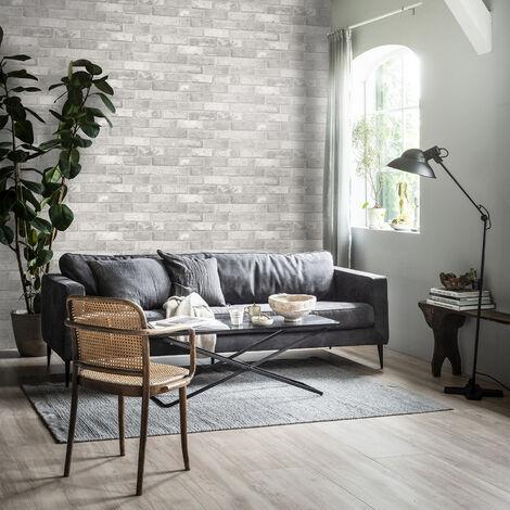 Papier peint intissé Mur Briques Loft clair 1005 x 52cm Gris