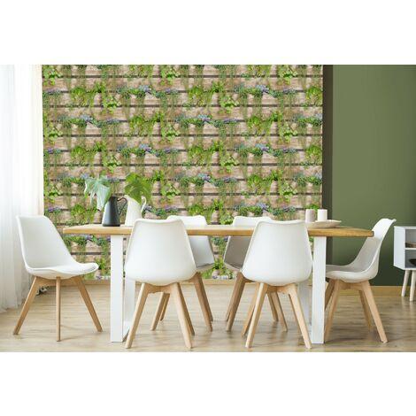 Papier peint Intissé Mur végétal Vinyle Grainé 1005 x 52cm Vert, Marron