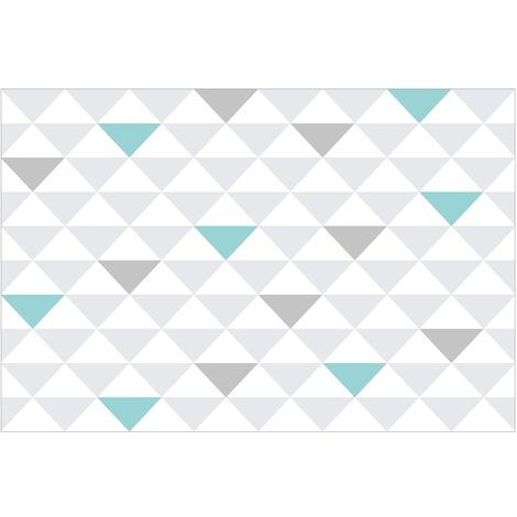 Papier peint intissé - no.YK64 Triangles Grey White Turquoise - Mural Large