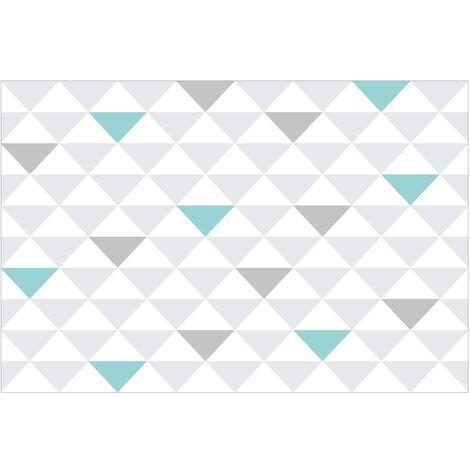 Papier Peint Intissé Triangles Gris Blanc Turquoise