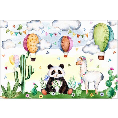 Papier peint intissé - Panda and Lama watercolor - Mural Large