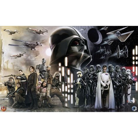 Papier Peint intissé panoramique Rogue One : A Star Wars Story Les rebelles contre l'étoile de la mort Grand Dark Vador - Star Wars 400X250CM