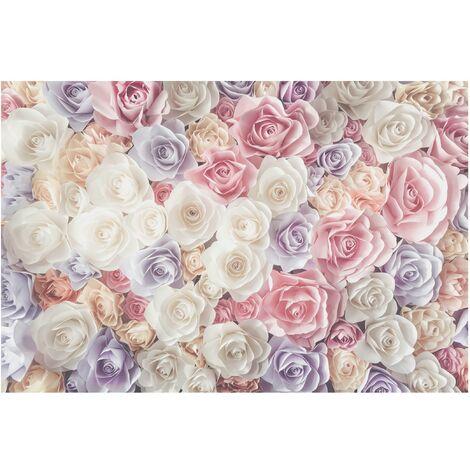 Papier peint intissé - Pastel Paper Art roses - Mural Large