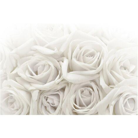 Papier peint intissé Premium Roses blanches - Peinture murale Grand - Dimension HxL: 290cm x 432cm