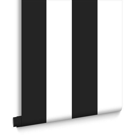 Papier Peint Intissé Rayures Noir Blanc 10M X 52Cm Rayures