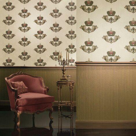 Papier Peint Intissé Rouge, Doré Ornament - Glööckler Imperial de Marburg - Pour Chambre à Coucher, Salon ou Cuisine - Fabriqué en Allemagne - 10,05 x 0,70m - 54856