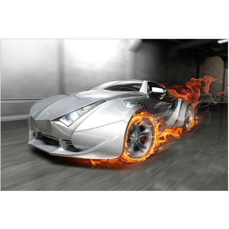 Papier peint intissé - Supercar in flames - Mural Large