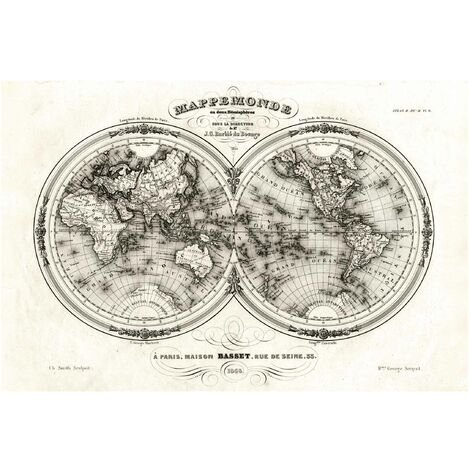 Papier peint intissé - World Map - French map of the hemispheres of 1848 - Mural Large