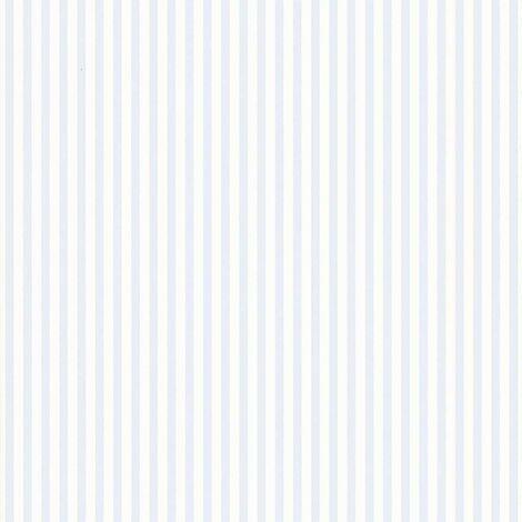 Papier peint LUTECE à petites rayures bicolores Blanc Bleu 10.05 m x 0,53 m - Blanc Bleu