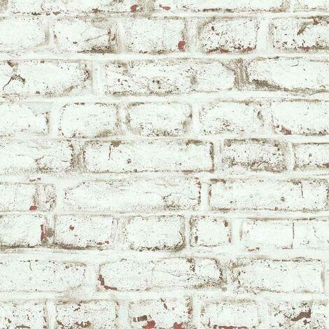 Papier peint LUTECE imprimé briques blanches écaillées Blanc 10 m x 0,53 m - Blanc