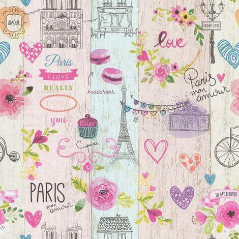 Papier peint LUTECE imprimé Paris girly Rose 10.05 m x 0,53 m - Rose