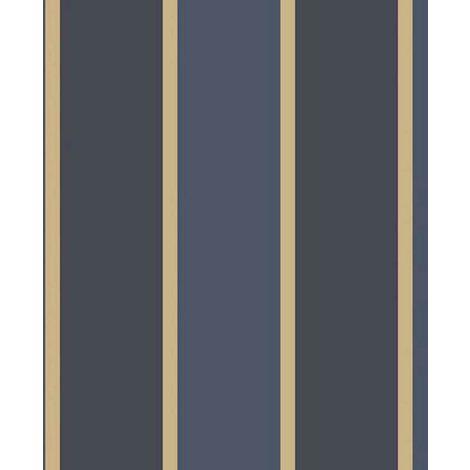 Papier peint LUTECE imprimé rayures bleues et or Bleu 10 m x 0,53 m - Bleu